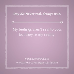 The Recovering Pessimist: Day 22 #30layers#30days -- Never real, always true. | www.therecoveringpessimist.me #30layers#30days #amwriting #recoveringpessimist #optimisticpessimist