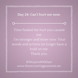 The Recovering Pessimist: Day 24 #30layers#30days -- Can't hurt me now. | www.therecoveringpessimist.me #30layers#30days #amwriting #recoveringpessimist #optimisticpessimist