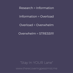 The Recovering Pessimist: Stay In YOUR Lane -- There's SO much information out there & a lot of it won't apply to you. That's okay. Be critical of the information you absorb. | www.therecoveringpessimist.me #amwriting #recoveringpessimist #optimisticpessimist