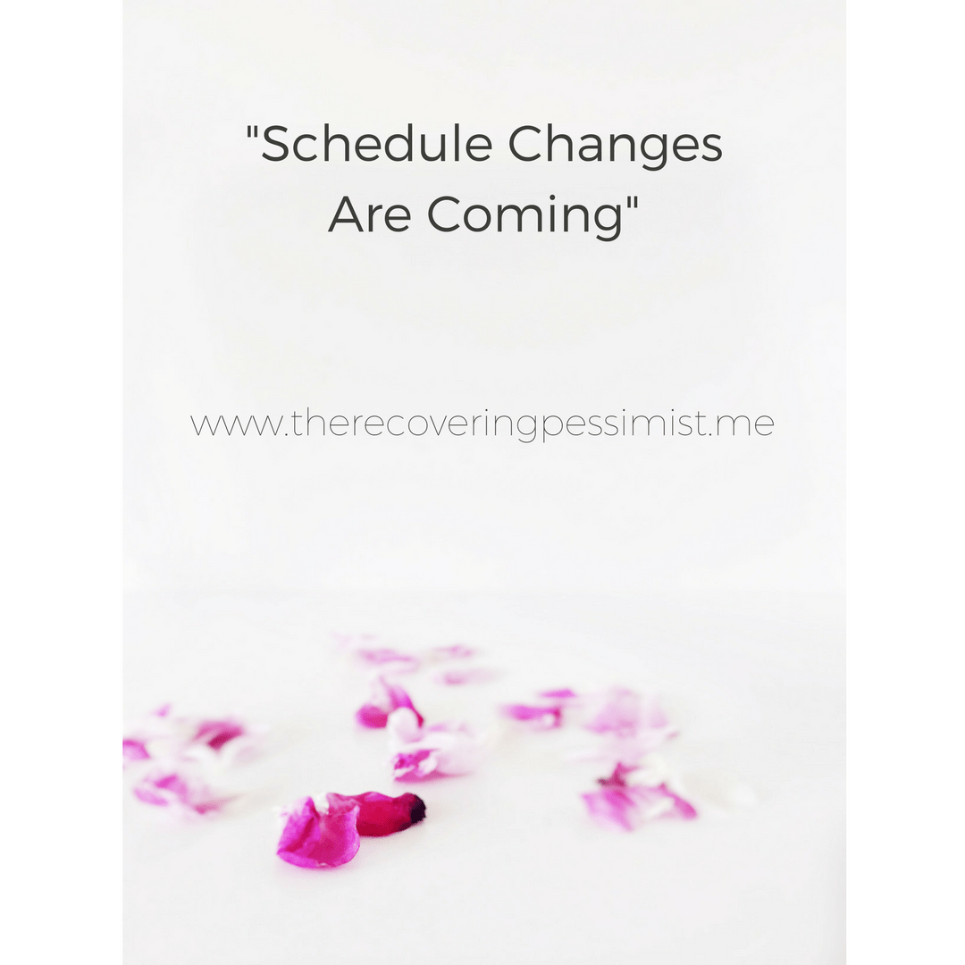 "The Recovering Pessimist: ""Schedule Changes Are Coming"" -- Last year, I decided that I was going to spend more time on my creative projects. When I decided to start Snapshot Storyteller, I realized that I wouldn't have a lot of time for The Recovering Pessimist. I decided to make changes to the posting schedule. Check out the blog post for details. 