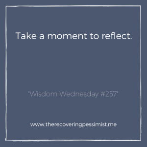 """The Recovering Pessimist: """"Wisdom Wednesday #257"""" -- Things are so fast-paced that we don't take the time to reflect on our accomplishments and/or failures. Take some time to reflect on these things before you move onto the next thing. 