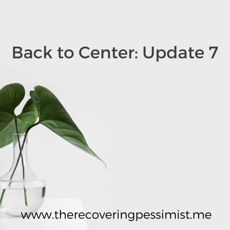The Recovering Pessimist | Back to Center: Update 7 | www.therecoveringpessimist.me | #amwriting #recoveringpessimist #optimisticpessimist #backtocenter
