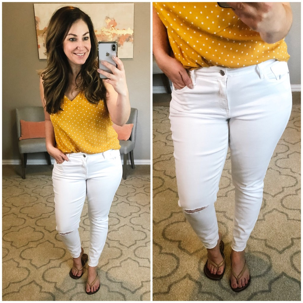 Best distressed white jean for moms with curves