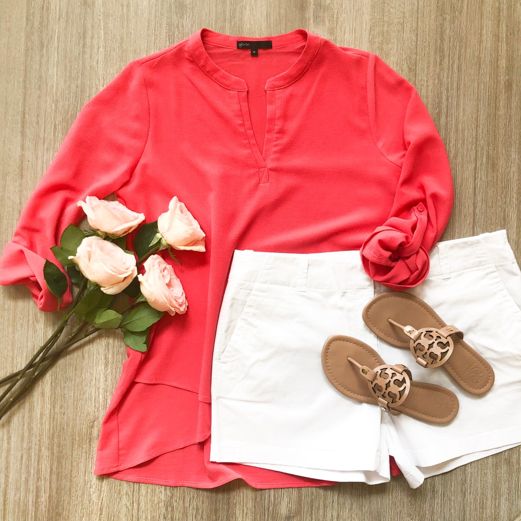 pink tunic with white Vineyard Vines shorts and Tory Burch Miller sandals.