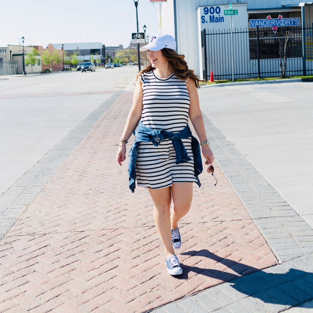 Headed to the ballpark then grab this cute stripe ruffle sleeve jersey dress that is soft and comfy all the way to the 9th inning.