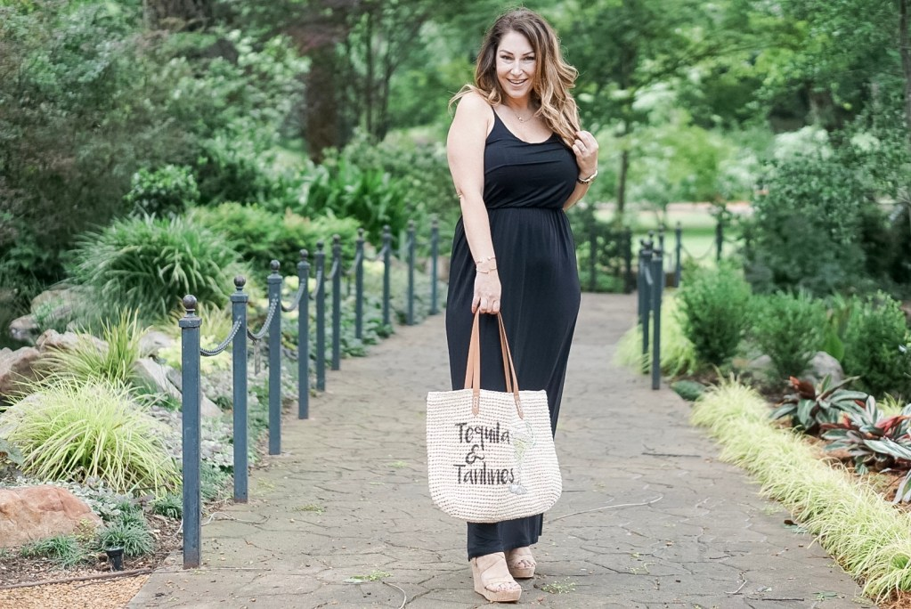 Beach tote and maxi dress
