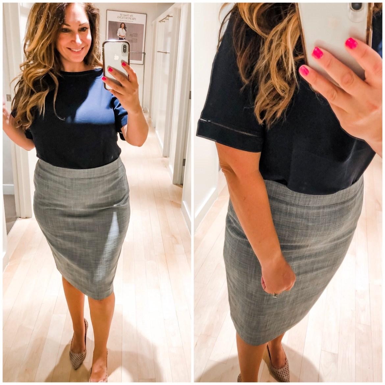 Ann Taylor Summer 2019 navy top and grey pencil skirt
