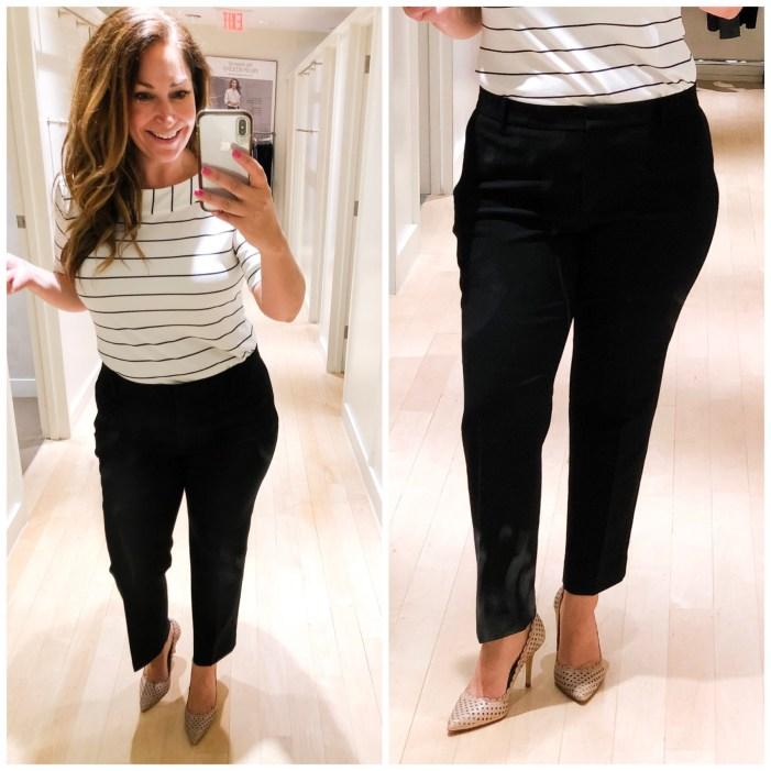 Ann Taylor summer 2019 black ankle pants, stripe top