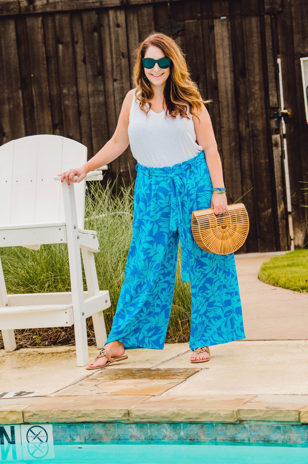 Wide Leg Paper Bag Pant in blue floral print perfect for summer. GibsonxHiSugarplum collection Summer 2019