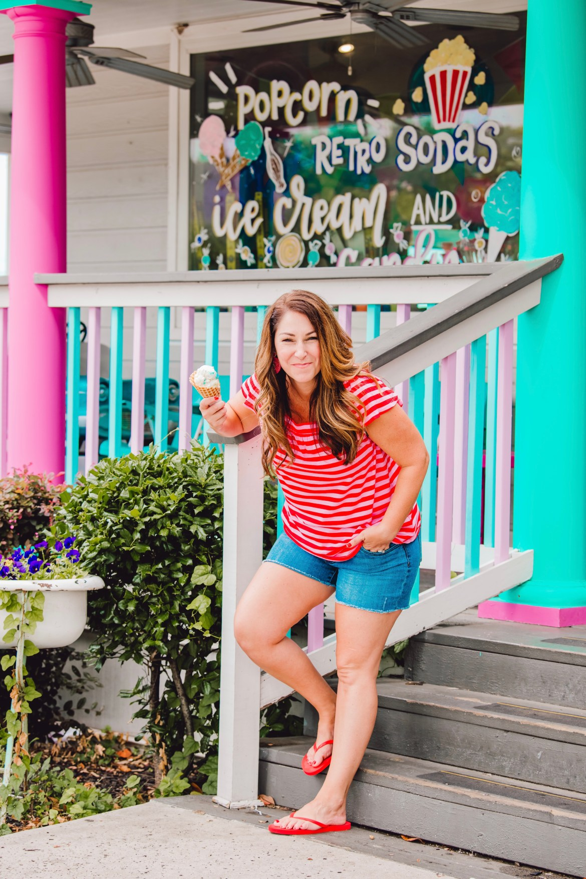 stripe square neck top with ruffle sleeves. perfect denim shorts and ice cream at Hey Sugar in Roanoke, TX
