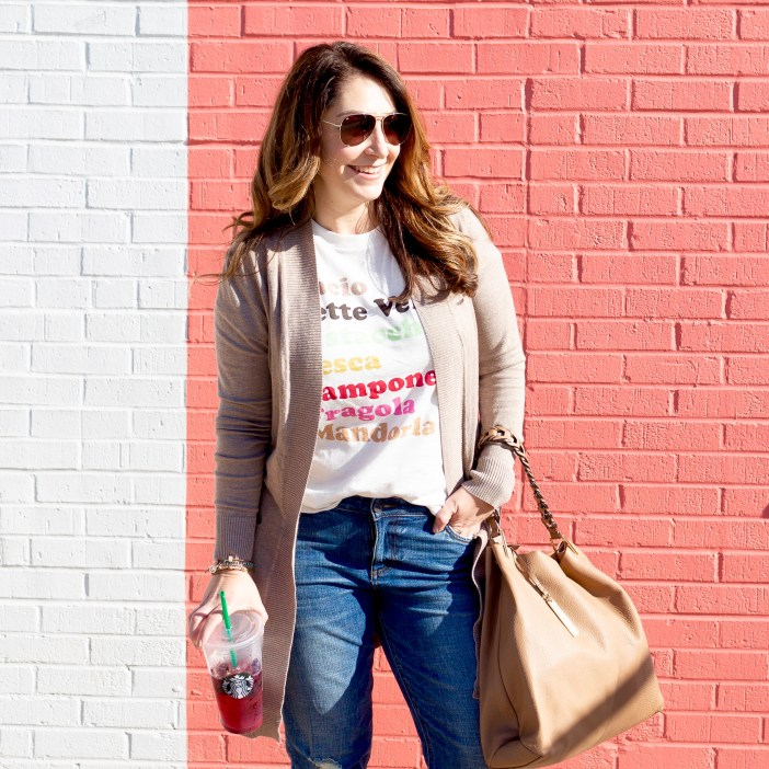 J Crew gelato tee // girlfriend Cut from the Kloth jeans and Amazon cardigan make an easy weekend outfit.