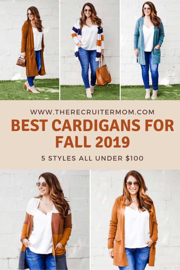 Best Cardigans for Fall 2019- The Recruiter Mom #cardigan #falloutfits #stripecardigan #longcardigan #dustercardigan #rustcardigan #booties #fall2019