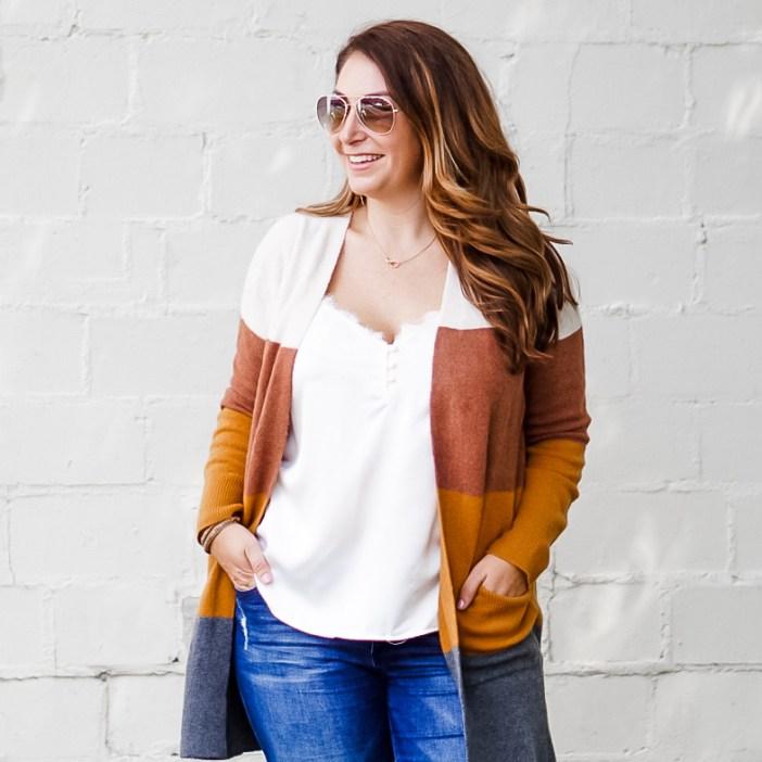 Madewell kent color block cardigan fall 2019