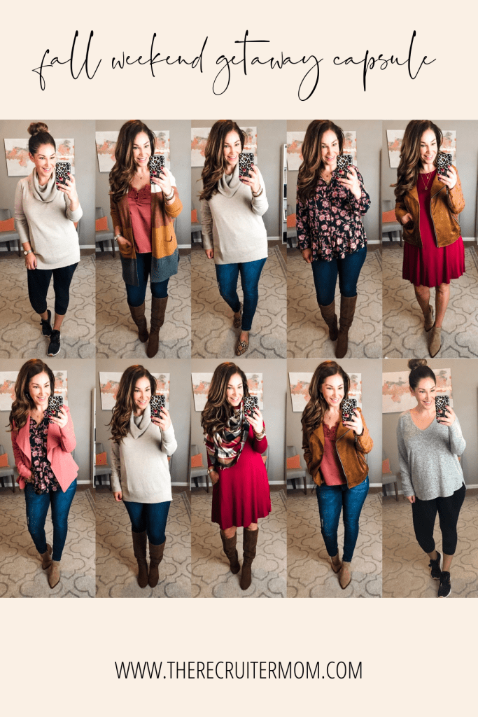 "Fall long weekend getaway capsule- all packed in a 20"" carry-on and making over 10 outfits. See the entire post at www.therecruitermom.com #falloutfits #fallcapsule #fall2019 #fallcasualoutfits #fallstyle #outfitideas #affordablestyle #weekendstyle"
