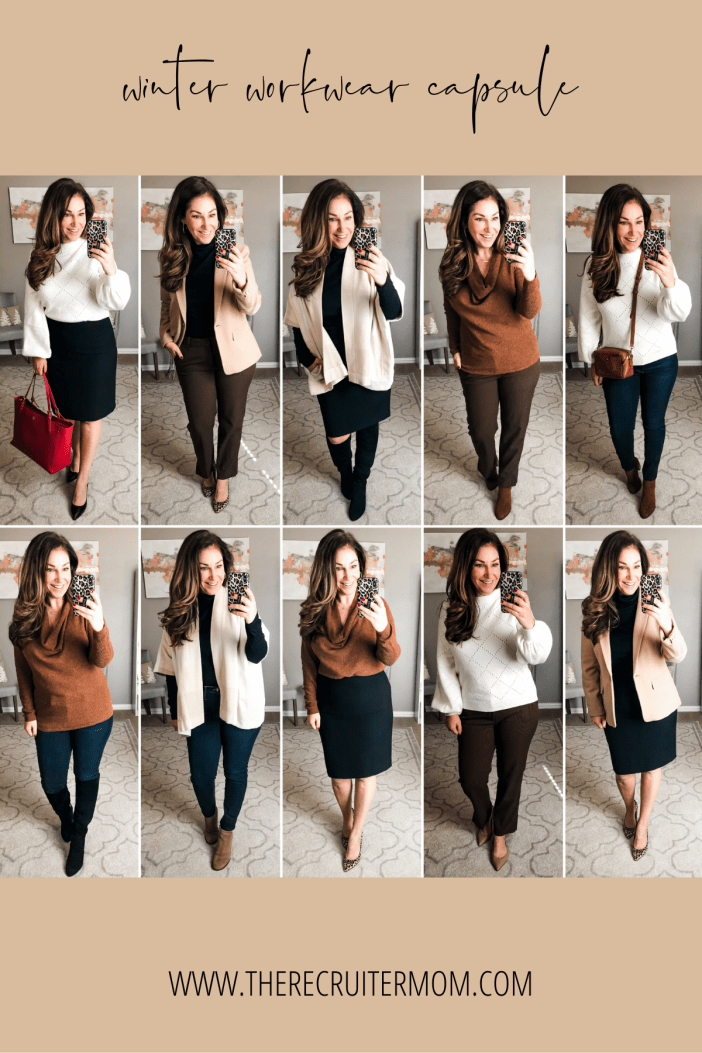 Winter Workwear Capsule with Business professional, business casual and business in jeans with neutral tops for winter 2019 #teacherstyle #corporatestyle  #thecorporatelife #corporatefashion  #office  #womeninsuits #networking #work #office #officeattire #workootd #worklook #workwear #weartowork #workfashion #workstyle #whatiweartowork