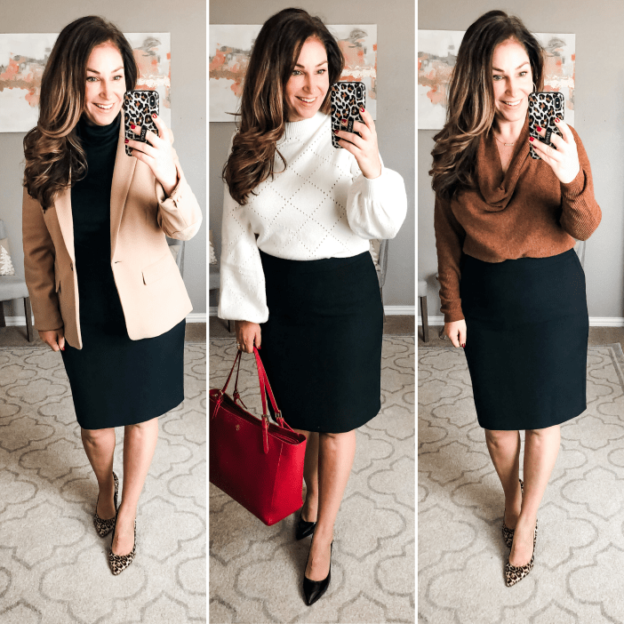 Business Professional Looks with black skirt and neutral tops for winter 2019 #teacherstyle #corporatestyle  #thecorporatelife #corporatefashion  #office  #womeninsuits #networking #work #office #officeattire #workootd #worklook #workwear #weartowork #workfashion #workstyle #whatiweartowork