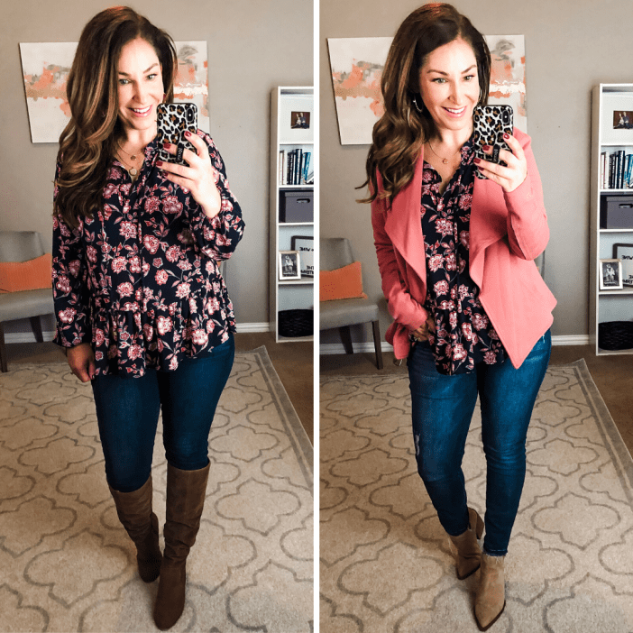 This top was my favorite from the Fall Weekend Getaway post because of the colors and lightweight flow. It's on MAJOR sale now and great for spring too! Fit Tips: tts, M