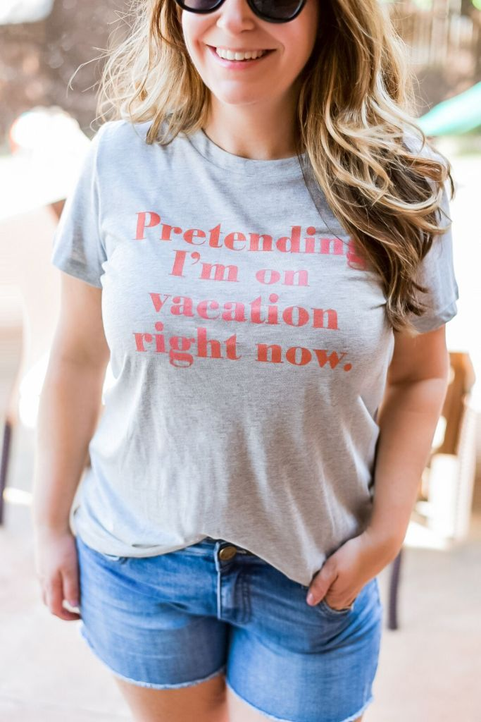 Spring 2020 outfit perfect for weekends or at home fun!  #casualoutfit #momuniform #graphictee #nordstrom #1901tee #vacationtee