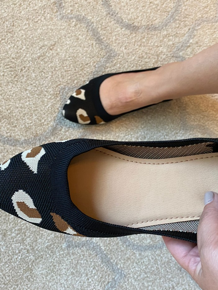 Breathable Leopard pointed toe flat // Rothy's dupe from Amazon