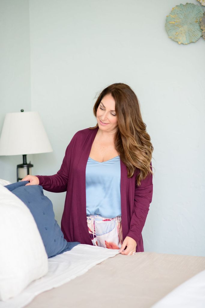 Sherwin Williams Sea Salt paint with dark wood bedroom furniture and Pottery Barn bedding // Soma Burgundy cardigan and blue silk cami