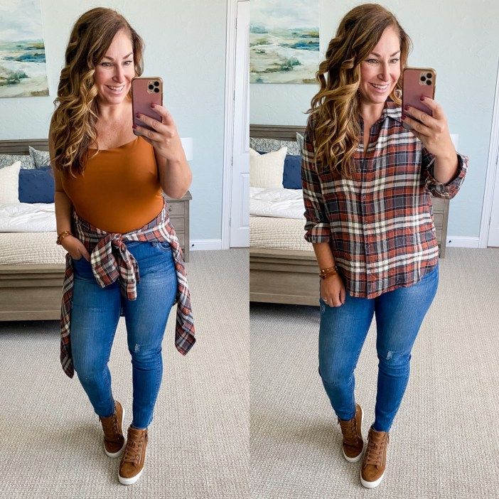 Casual Fall Outfit #wedgesneakers #flannel #womensclothing #fallclothing #womensdenim