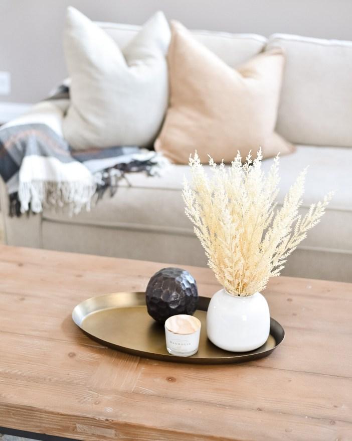 Fall Home Decor #targettabledecor #wheatgrass #candle #tabledecor #falldecor #falltabledecor #affordablefalldecorations