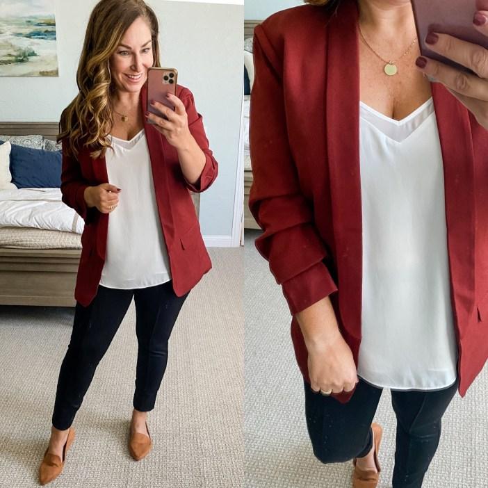 Maroon Walmart Blazer #womensfashion #fallfashion #womensblazer #cami #workwear