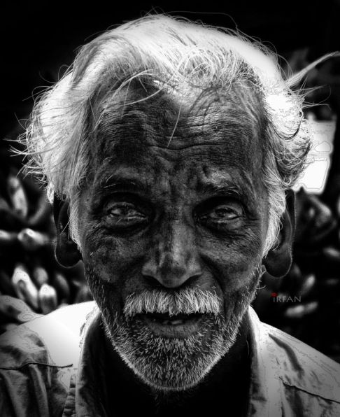 indian, old man, black and white, portraits, irfan hussain, thereddotman, irfan, hussain