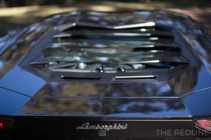 Lamborghini Aventador S engine cover - you can see the carbon and pushrods - Rhys Vandersyde