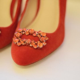 Peta is primped to perfection. Rich red velvet, crystal encrusted ... fit for a princess.