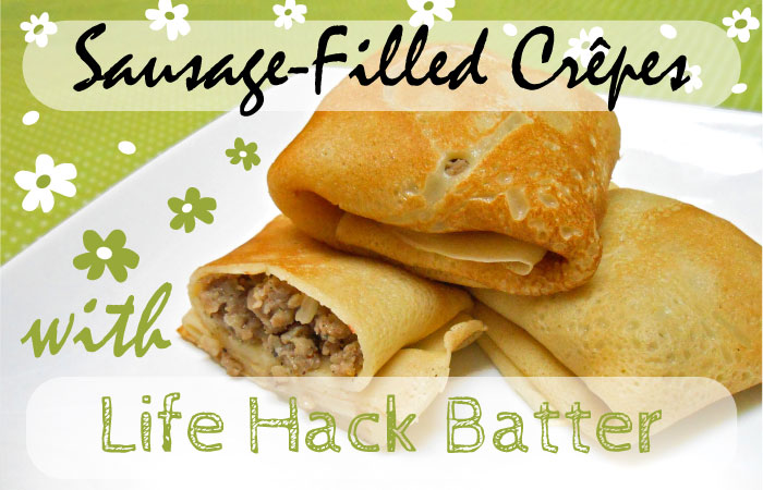 Sausage-filled crepes