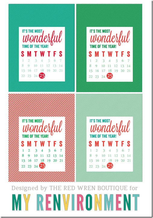 December 2013 Calendar Card Freebies