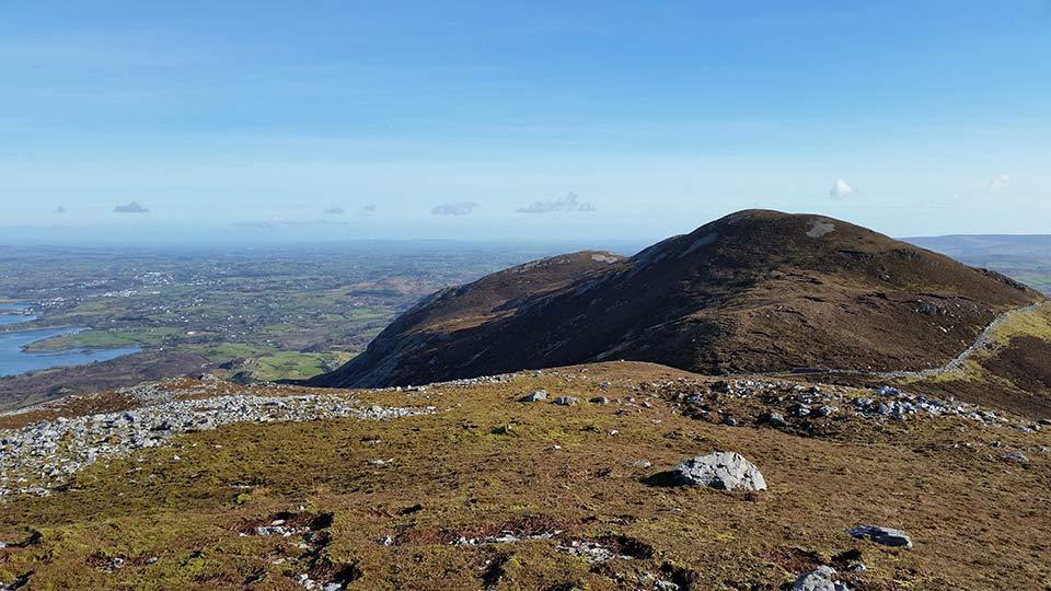 Looking east from Lugnademon towards Teevenacroaghy and Crott Mountain.