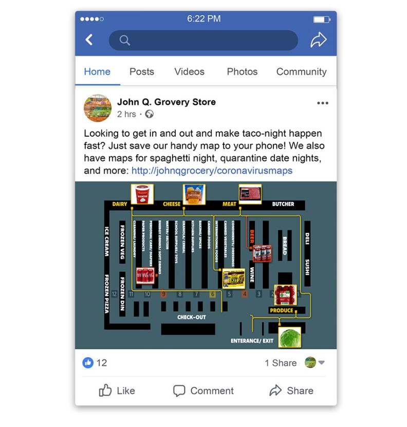 facebook post for grocery stores marketing to customers during the coronavirus