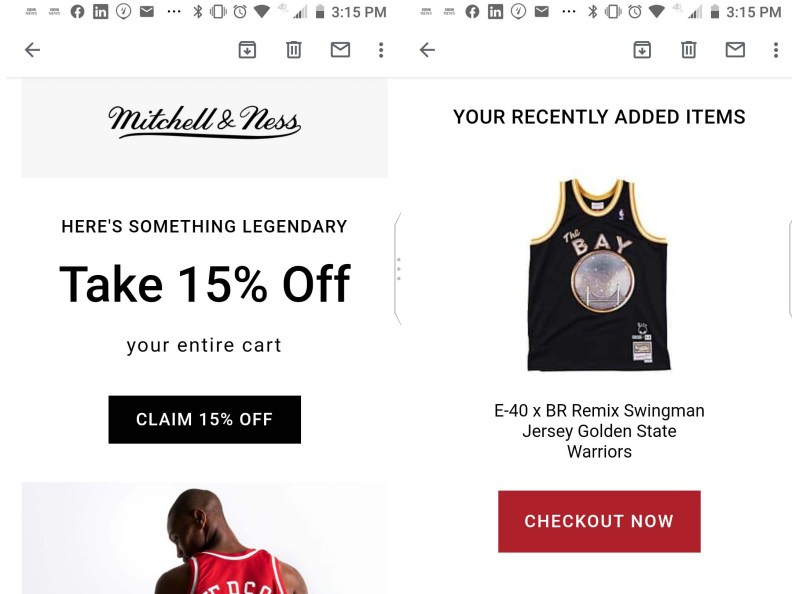 mitchell & ness email marketing during coronavirus