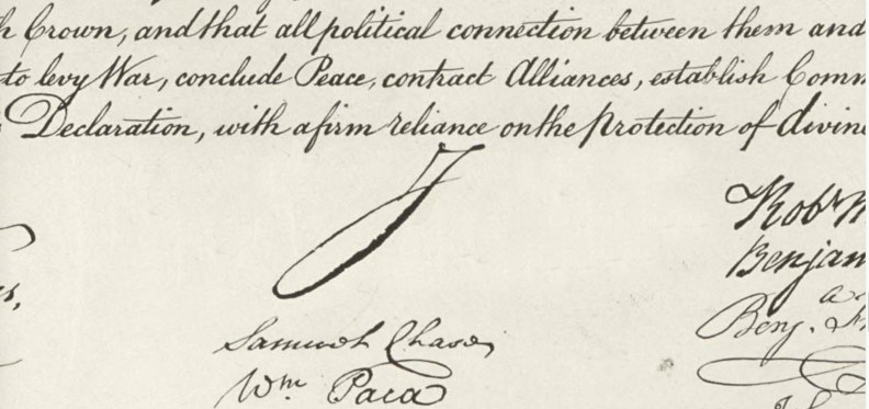 one letter signature declaration of independence