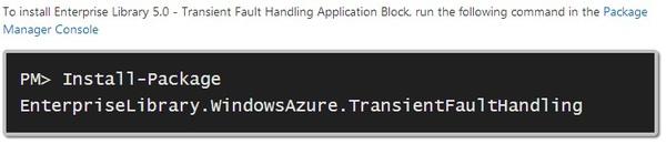 NuGet Install Enterprise Library Transient Fault Handling Framework