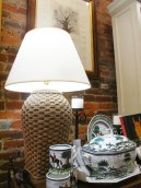 Our Mainly Baskets lamp is even sunnier as lit by a CFL.