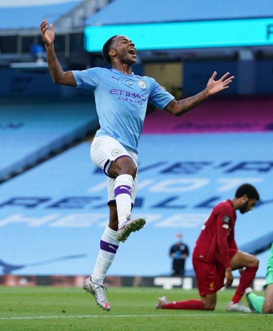 Raheem Sterling (L), triumphant against Liverpool.