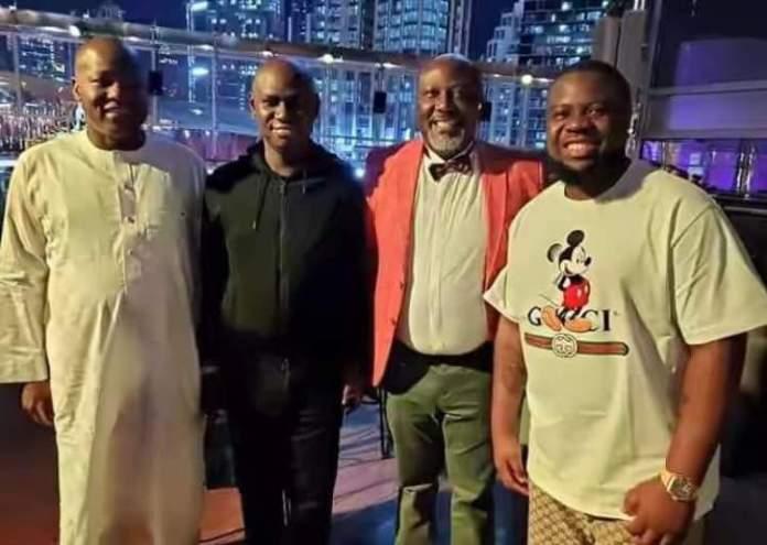 L-R Dogara, Timi Frank, Dino-Melaye and Hushpuppi in Dubai