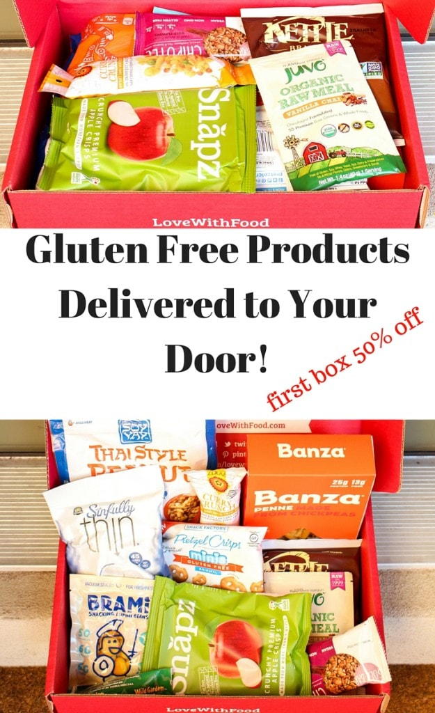 Do you love tasting new gluten free foods without breaking the bank? (hey, me too!) You can get a box packed with gluten free foods delivered straight to your door every month through Love With Food, and your first box is 50% off!