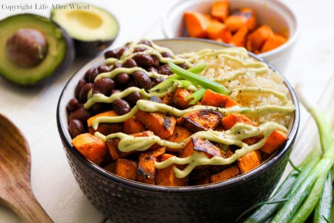 Healthy can be tasty! Dig into this quinoa bowl packed with pan seared sweet potatoes, hearty black beans perfectly paired with a cool avocado cream sauce. You definitely won't feel like you're missing out!