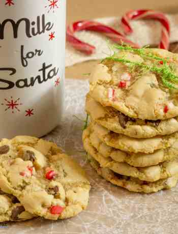Shhhh! This recipe is straight from the Elves at Santa's Workshop. They know that Santa loves warm cookies that are soft and chewy in the middle with crispy edges. And of course adding crushed candy canes is the perfect touch for that Jolly Fellow. I can guarantee that the kiddos won't complain either! But even Santa doesn't know what secret ingredient makes these cookies over-the-top delicious.