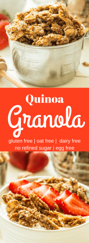 Looking for a healthy granola? Quinoa granola is easy to make and packed with 9 real, good-for-you ingredients! Unlike other quinoa granola recipes, protein-packed quinoa fully replaces the oats. Naturally sweetened with honey, this recipe is gluten free, vegan, soy free, dairy free, and oat free.