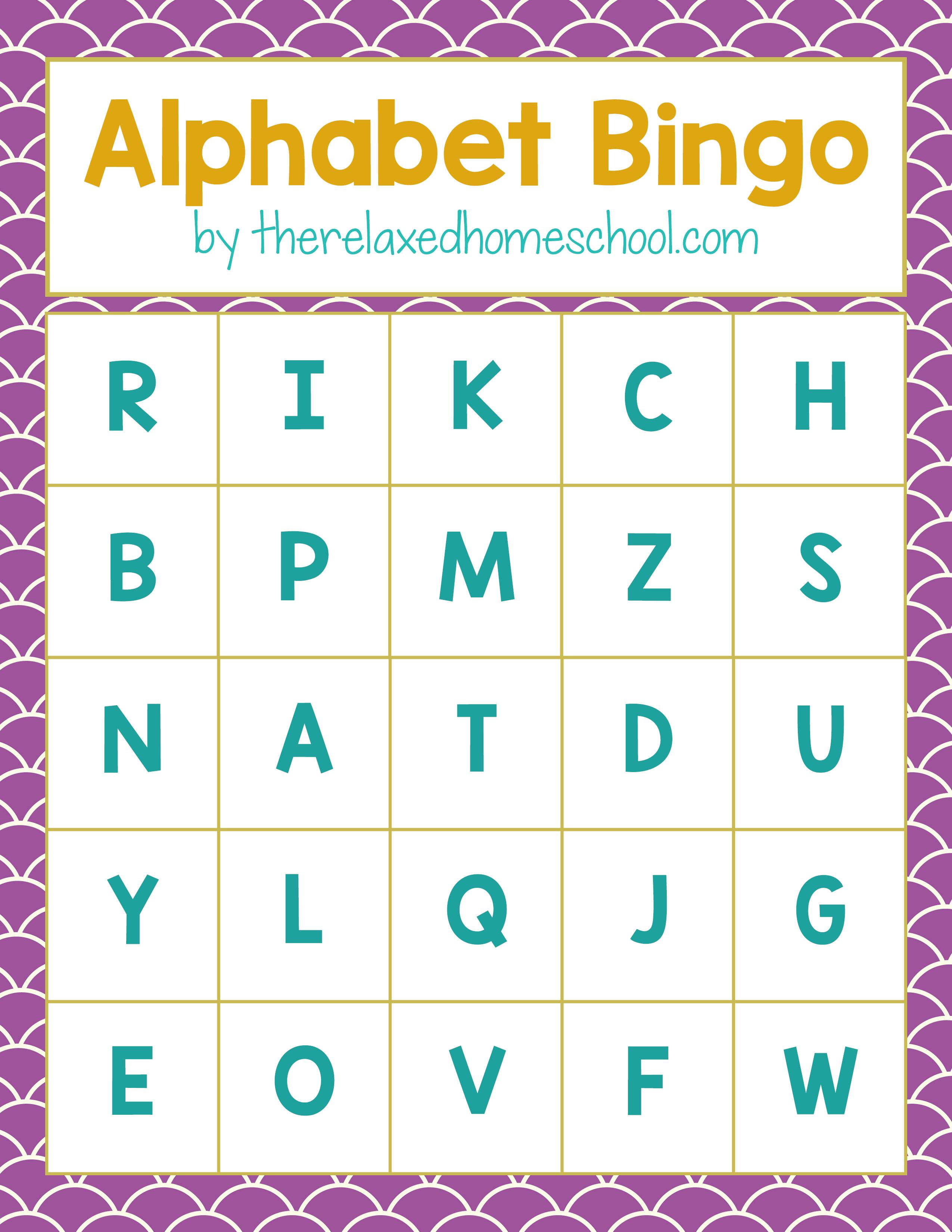 Free Printable Alphabet Letters Bingo Game