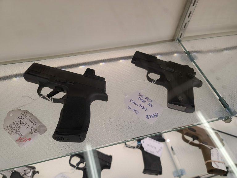Handguns on display at a gun store in May 2021