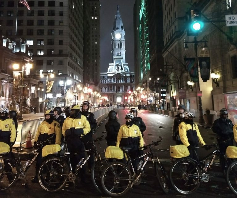 Philadelphia Police stand guard outside city hall the night the Eagles won the Super Bowl