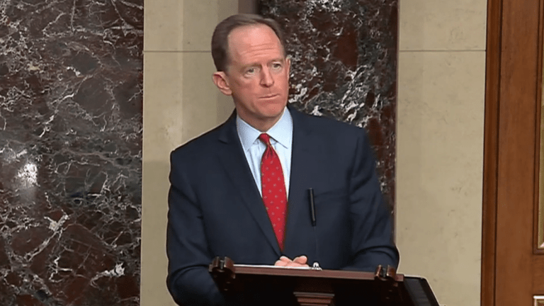 Pat Toomey (R., Pa.) gives a speech on the floor of the Senate March 3, 2021