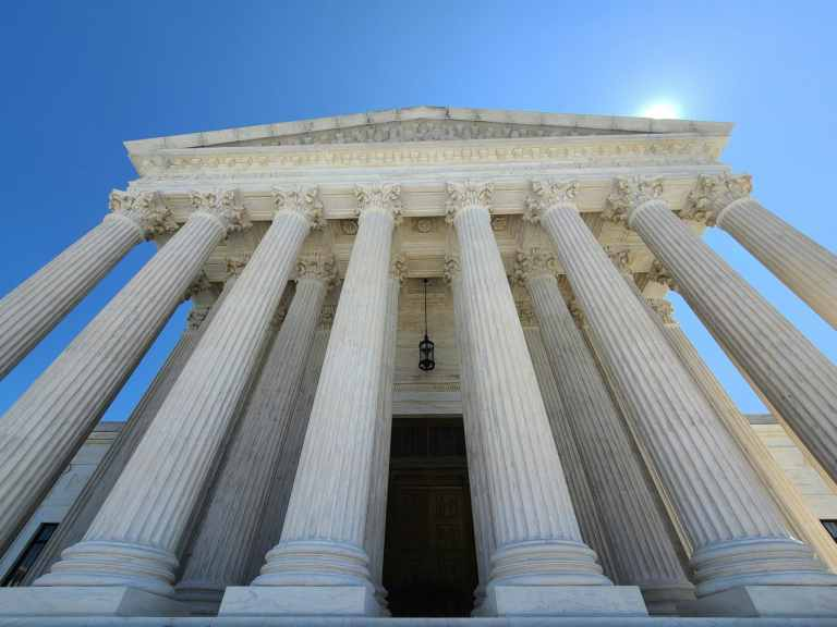 The sun rises over the Supreme Court building in Washington, D.C.