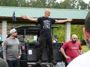 Rob Pincus speaks to a crowd at the first Gun Makers Match in April 2021